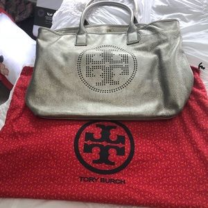 Tory Burch large metallic tote bag